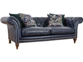Zanzibar leather chesterfield sofa in Aurora Indigo