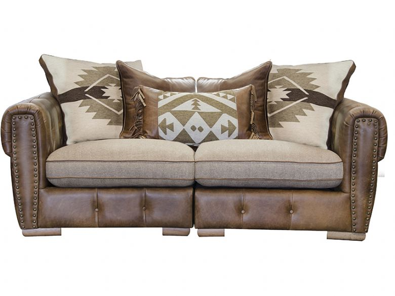 Leather & Fabric Midi Sofa - Split