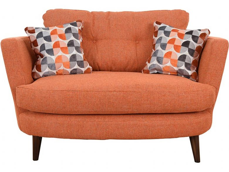 Lottie orange fabric oval cuddler available at Lee Longlands