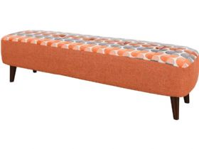 Lottie fabric orange long bench footstool available at Lee Longlands