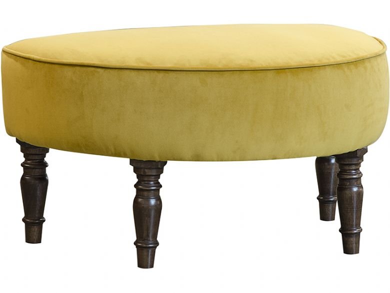 Vivienne fabric footstool in plush turmeric