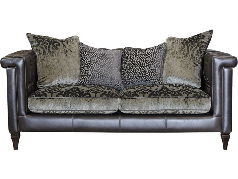 2 Seater Leather & Fabric Sofa