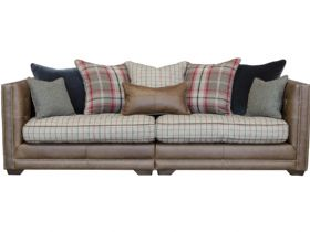 Fabric & Leather Scatter Back 3 Seater Sofa