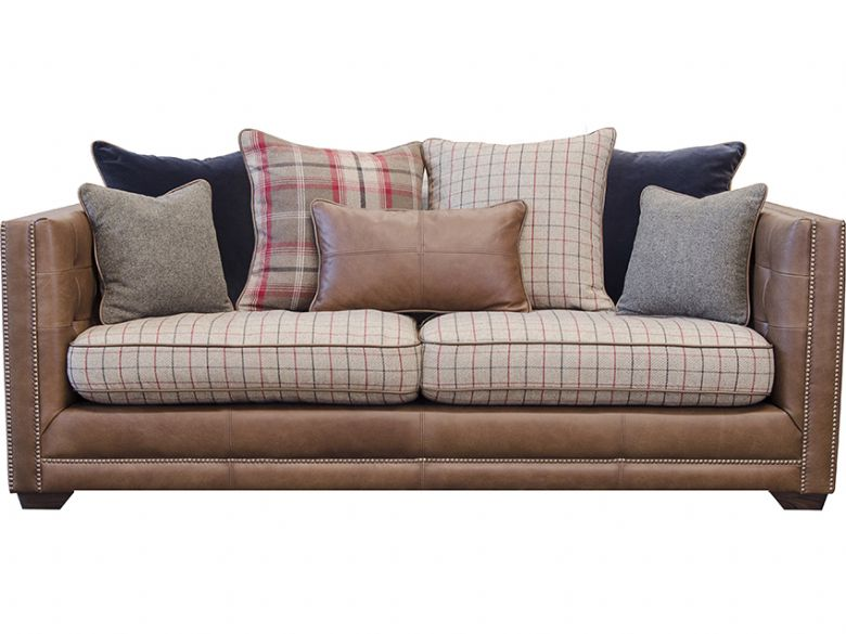 Fabric & Leather Scatter Back 2 Seater Sofa