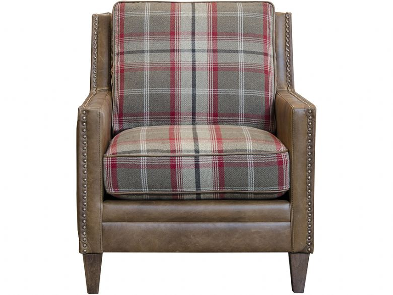 Fabric & Leather Scatter Back Accent Chair