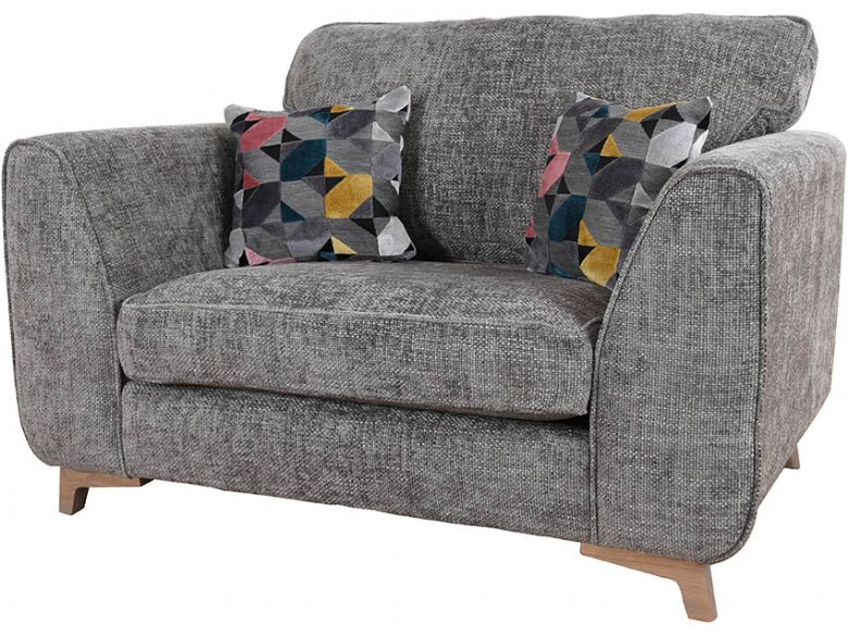 Layla contemporary fabric grey cuddle chair available at Lee Longlands