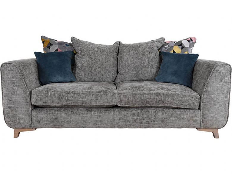 Layla 3 seater fabric grey scatter back sofa available at Lee Longlands