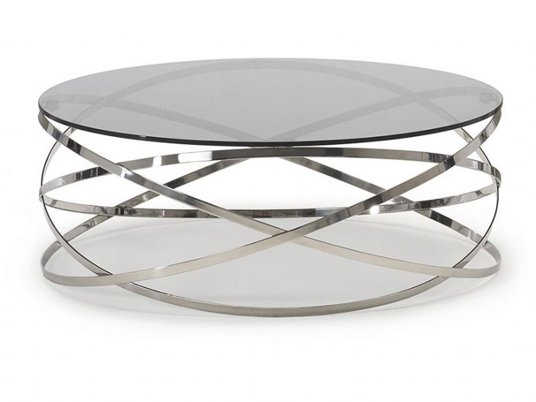 Barletta glass and chrome coffee table