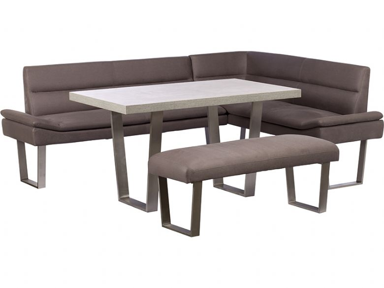 Zander lhf corner sofa dining table bench set lee for Zander credit protection
