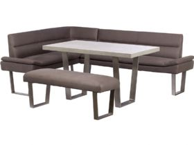 RHF Corner Sofa, Dining Table & Bench Set