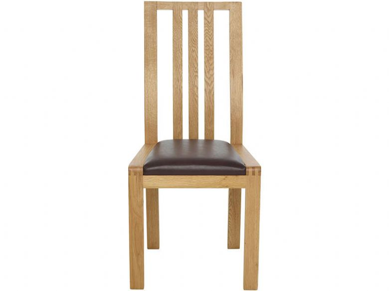 Dining Chair Brown Leather Look