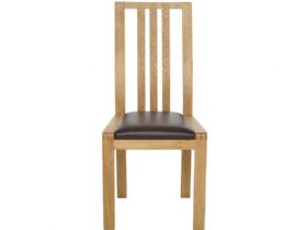 Oak Dining Chair with Brown Leather Look Seat