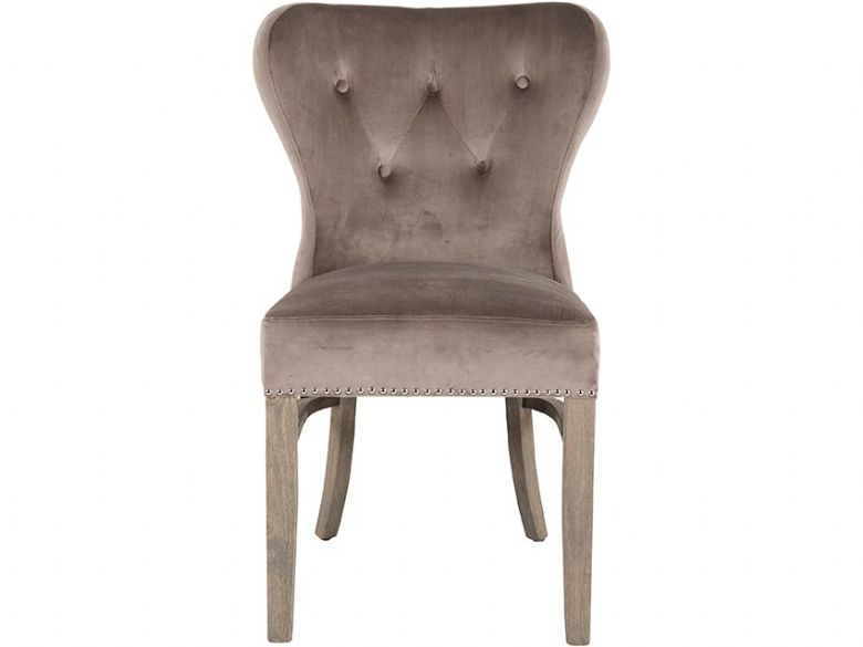 Chelsea Velvet Taupe Dining Chair Front