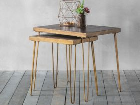 Ascot Ceramic & Metallic Nest of 2 Tables