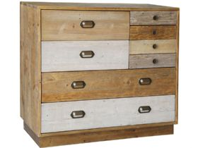 Vienna Reclaimed Pine 7 Drawer Chest with Plinth