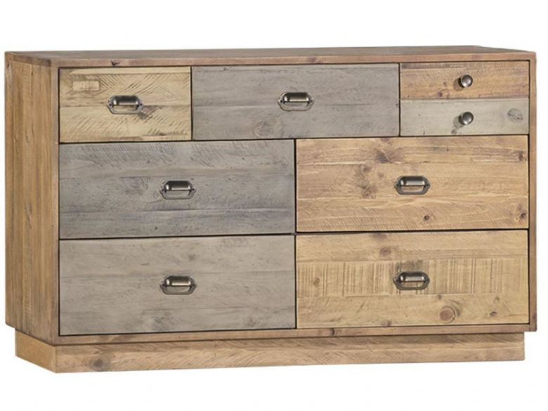 Vienna Reclaimed Pine 6 Drawer Wide Chest with Plinth