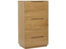 Oak 5 Drawer Slim Chest