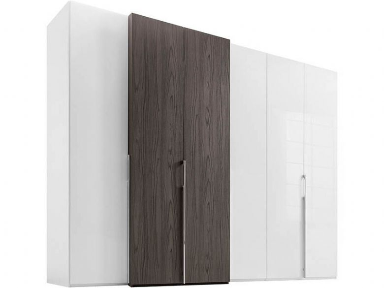 230 Left-hand Storage Doors - White Glass/Ristretto Nutwood Front, Polar White Body