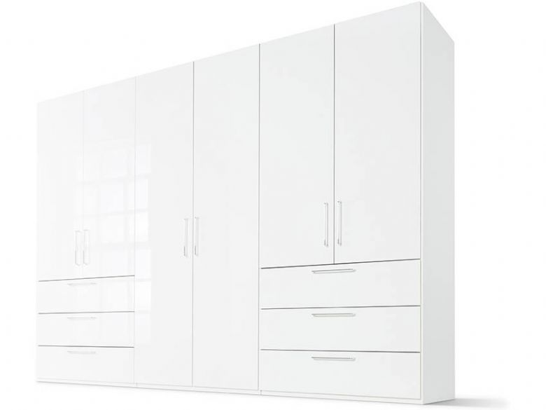 200 6 Door 3 Left/Right Drawer - High Gloss White Front, Polar White Body