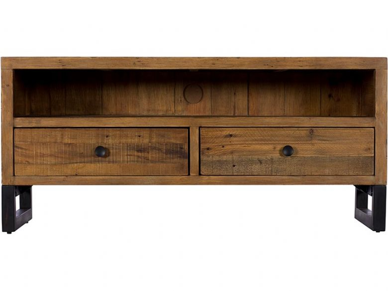 Halsey reclaimed wood tv unit with drawers