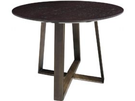Smoked Oak Round Side Table