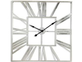 Large Square Silver Skeleton Clock