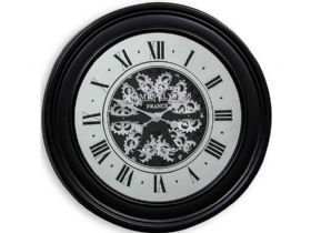 Black Moving Gears Clock with Mirrored Face