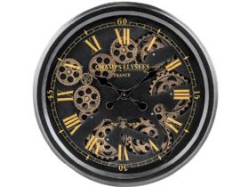 Black & Gold Medium Moving Gears Clock