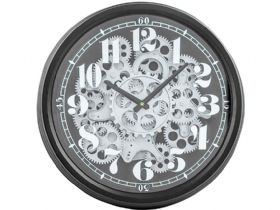 Black & Silver Moving Gears Clock