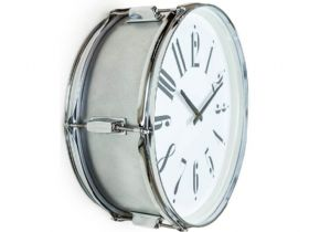 "Silver 17"" Drum Wall Clock"