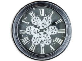 Antique Black & Silver Moving Gears Wall Clock