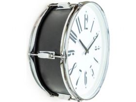 "Black 17"" Drum Wall Clock"