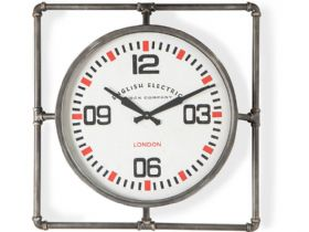 Square Pipe Framed Industrial Style Wall Clock