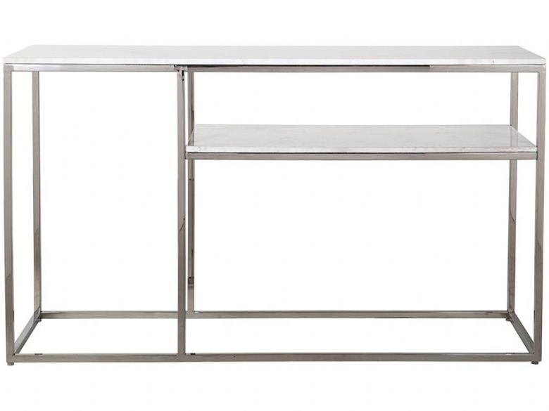 Balham side table marble top and stainless steel base