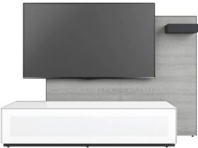 Compact 155 White Glass TV Cabinet
