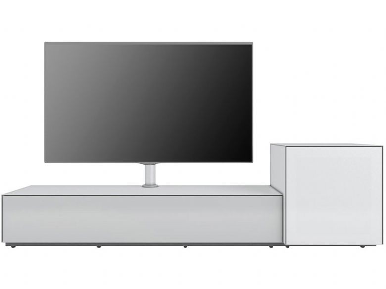 Naked Ground Matt White TV Unit and Side Cabinet with Glass Front