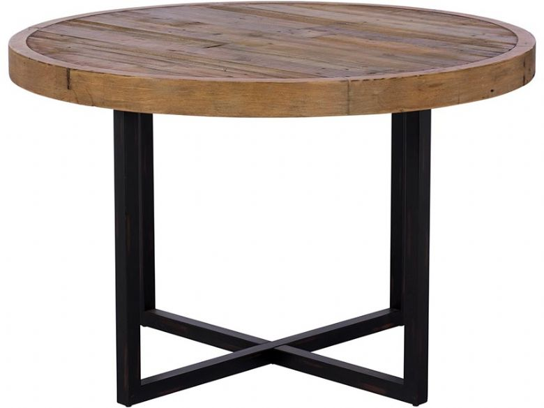Halsey reclaimed wood round dining table 120cm