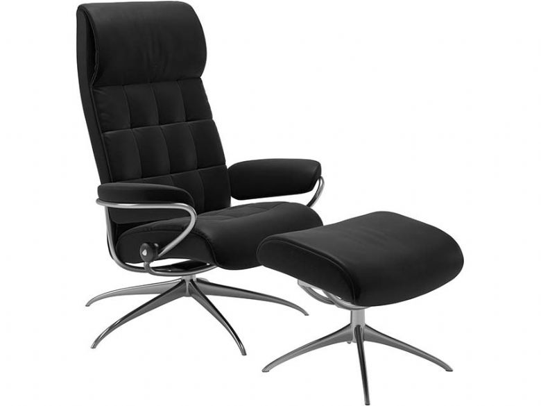 Stressless London High Back Recliner Chair with Footstool