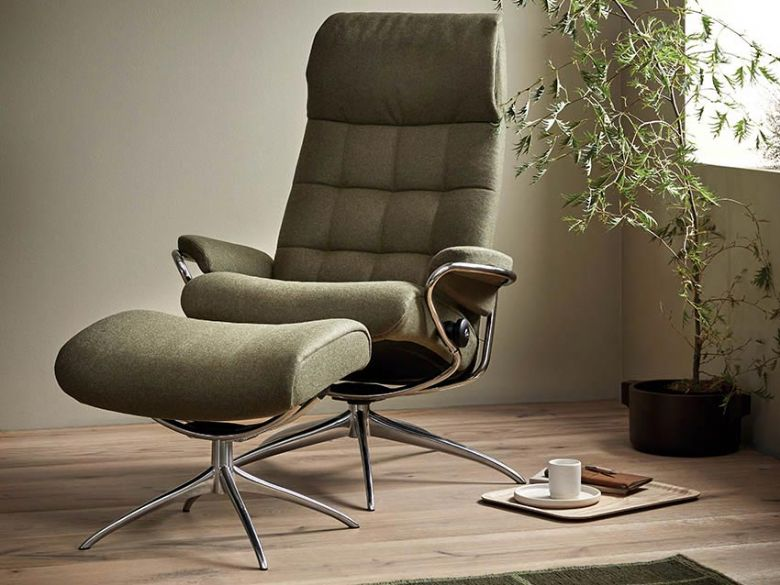 Stressless London Fabric Chair and Stool in Calido Dark Green