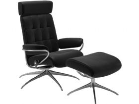 Recliner Chair & Stool - Adjustable Headrest