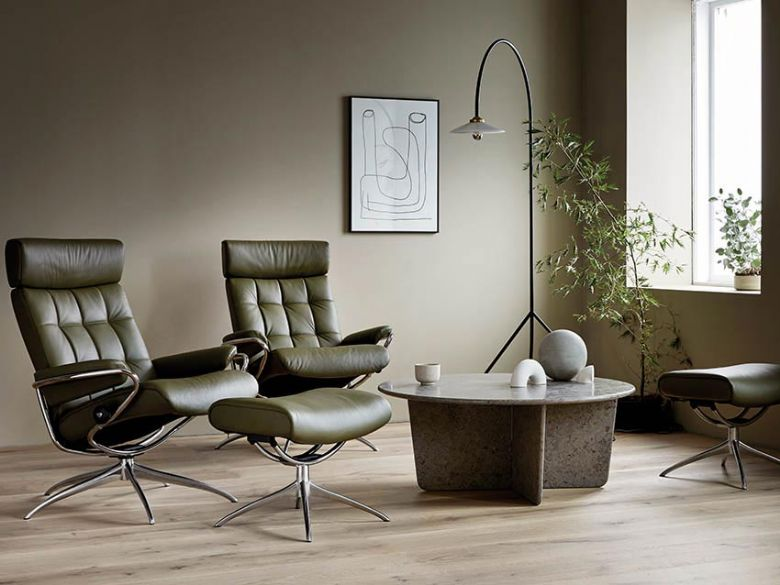Stressless London with Adjustable Headrest in Dark Olive Leather