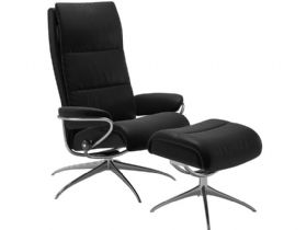 High Back Recliner Chair with Footstool