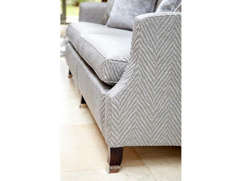 Duresta Amelia chair in grey chevron fabric available at Lee Longlands