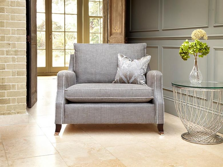 Duresta grey snuggler chair available at Lee Longlands