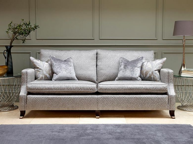 Duresta Amelia grey fabric sofa range available in a selection of fabrics