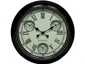 Edinburgh Black & White Multi Dial Wall Clock