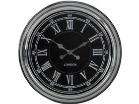 Modern Chrome & Black Wall Clock