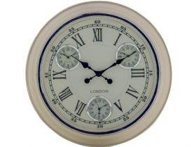 Multi Dial Cream & White Wall Clock