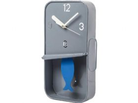 Grey Metal Sardine Tin Pendulum Clock