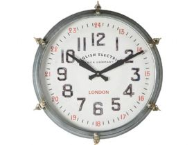 Round Industrial Station Style Wall Clock